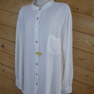 Nation Ltd Cream Button Up Shirt Oversize Blouse L
